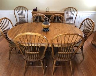 Dining Set with 8 chairs, Oak