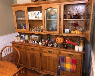 Oak Credenza, Server, Dining Cabinet with hutch