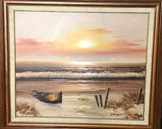 beach scene painting, signed