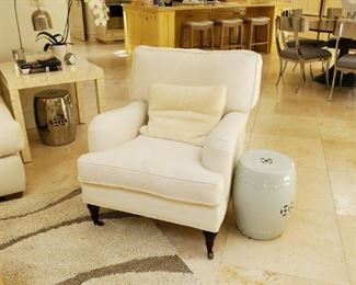 Custom Belgian linen arm chair on casters - down filled $899 each  (Reg $1999 each) - Tan and cream low shag Rug 199 (8x10) NEW