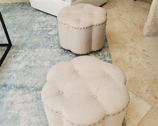 Ottomans nailhead clover details- pair ($99 each one)