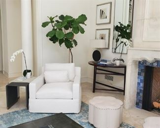 Deep linen track arm chair (Was $1499 ) Now $860 each -   Nailhead ottomans $99 each -   Framed silvered photographic art $199 each (4 avail)  - Wall Mirrors $129 each SOLD -  Bronze Coffee table $799 - Shagreen nesting tables $1,100 (Was $2,700 set)