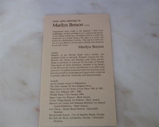 Marilyn Benson - Indialantic Watercolor Artist Bio