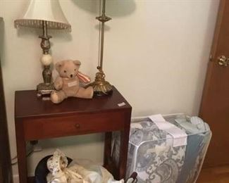 Lamps, table, bedding set, vintage doll and doll stroller