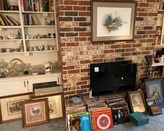 Vinyl records, books, smalls, prints, tv, needlework