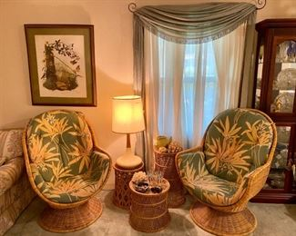 Groovy late mid century rattan chairs, and they swivel!