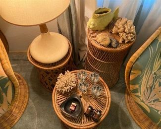 Rattan side tables, CORAL! (it's vintage, 50+ years), fossils, mod glassware, dig that lamp