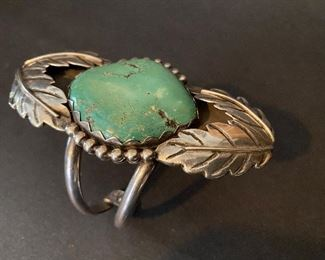 Vintage Native American Turquoise Silver Cuff Bracelet