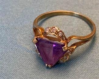 006 Diamond Amethyst  14k Gold Ring