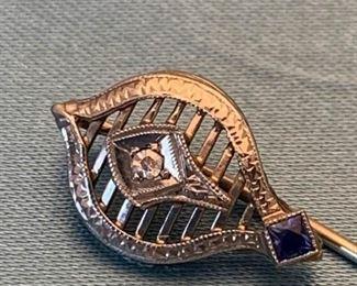 007 Gold Diamond  Sapphire Pin