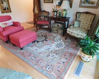 New Oriental Rug 8' x10' , wool,sage green , light rust $1000.00, Red duct fabric Ballard chair w/ottoman like new & very comfy. $650.00