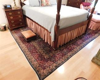 "Hickory Mfg. hand carved(rice pattern) queen sized 4 poster bed (includes step stool). $500.00, Very fine wool & silk rug dark red/rose with navy and multi colors 8'8""x 12'7"" $1000.00"