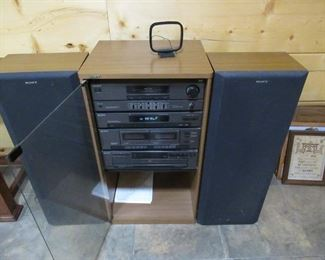 "Sony stereo system, all components seem to work well, Approx measurements-33""t x 19""w x 16""d-Speakers 33""t x 9""d x 9""w                   Price 75.00"