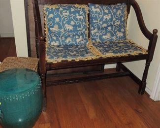 Antique retro bench * Oriental ceramic side table