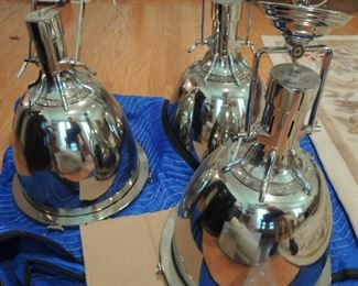 Chrome Industrial Pendant lights - Large - 3 available