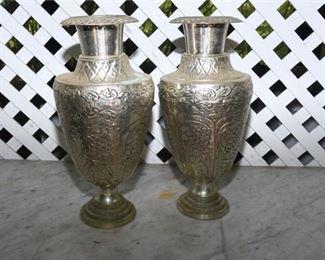 4. Pair of Large vintage Metal Vases