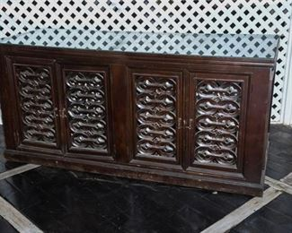 9. Semi Antique Hand Carved Wood Sideboard w Glass Top
