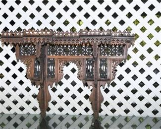 10. Antique Carved Inlaid Wood Hanging Wall Display Shelf