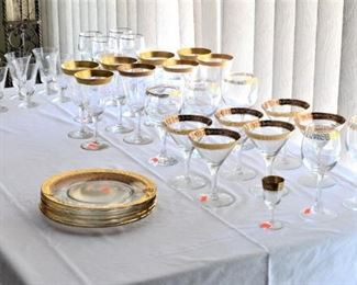 GOLD RIM STEMWARE AND PLATES PLUS OTHER CRYSTAL GLASS WARE