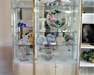 LEFT 2 SECTIONS OF DISPLAY CABINET - NICE ART GLASS AND CUT GLASS, PLATES, FISH