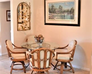 5 PIECE RATTAN DINETTE WITH SWIVEL CHAIRS. PRETTY MIRROR - ONE OF MANY IN THE HOUSE,  TRIPP HARRISON SIGNED AND NUMBERED ART