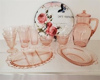 Beautiful Pink Depression Glass Floral Serving Tray