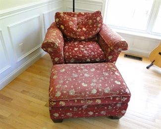 Stickley Red Floral Chair with Ottoman $300.00