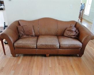 Stickley Distressed Leather Sofa $575