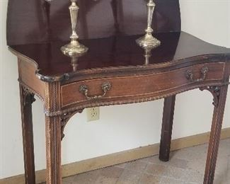 Gorhand silver candelabra and mahogany hall table