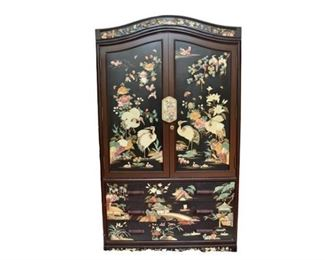 6. Black Lacquered Asian Style Cabinet