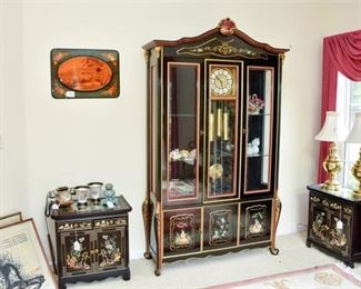 11. Black Lacquered Asian Style China Cabinet with Display Clock
