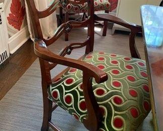 10 matching chairs $ 5,000.00 (  8 + 2 )   mahogany custom fabric