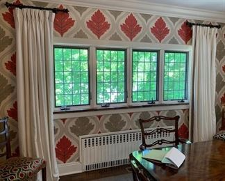 silk drapes - a 2 inches brown stripe - note the right side of the window