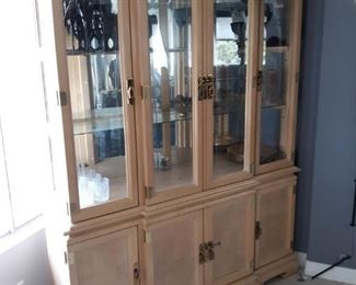 Large light wood asian inspired china cabinet