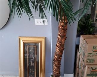 Asian framed scroll and faux palm tree