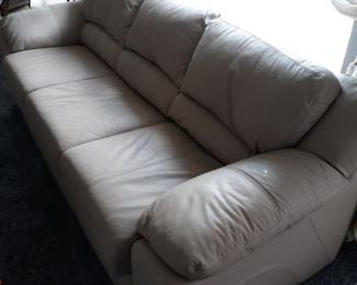 Beige leather couch 90in