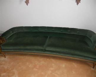 Green velvet 8 Ft. sofa.
