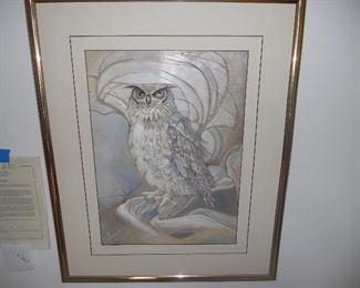 Custom framed Leather Owl by Susan Sunda.