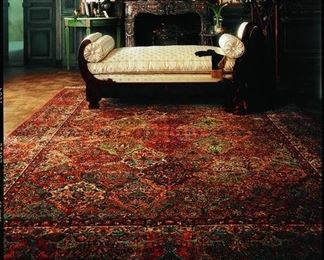 """$850     Gently used. Dry cleaned in wrap. Originally $2,299.00. On sale for $1300. ASKING $850.00. 5'9"""" x 9'  The awesome Karastan Original Multi Panel Kirman Area Rug is a machine made weave of 100% new zealand wool. Resembles hand knotted. The trademark patterns and colors so closely associated with the rugs of ancient Persia's Kirman region are actually the work of shawl makers. Though Kirman's rug weaving renown dates back to the early 16th century, it was the declining demand for their wares in the late 1800's that led shawl makers to develop the graceful style and intense coloration Kirman rugs became so famed for around the world; a style and coloration so beautifully illustrated here in this 50 color Multicolor Panel Kirman rug. This signature Karastan collection has come to exemplify style, luxury and beauty. Incorporating the timeless and classic elements of Oriental rug design, today's Karastan rugs are produced in a manner that combines are, technology and performance"""