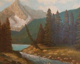 """$750 Original oil. Canadian. Gilt frame. 2' x 2' 2"""""""