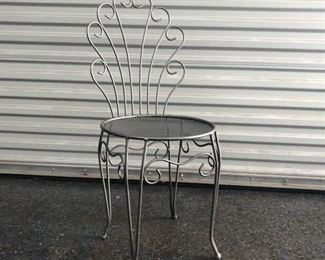 Silver vanity height chair