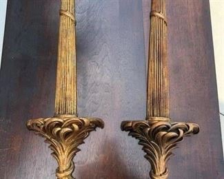 "Gold Olive Leaf Plate Holders (Orig. $99 each). 26.5"" long."