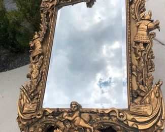 "Spanish conquistador (St. Augustine purchased) extra large mirror. 57.5""x38"" with frame. Mirror only measures 35.5""x23"""