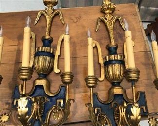"Stunning gold and navy color scheme Hard wired electric ""candlestick"" wall lights Made in Florence, Italy"