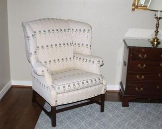 Pair of upholstered wingback chairs - $400