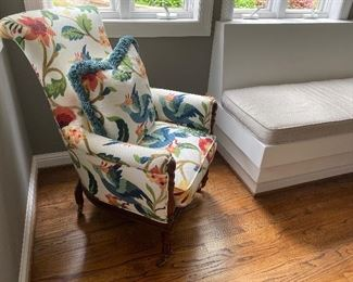 """Floral Upholstered Chair   $175 H 40"""" D 28"""" W 27"""""""