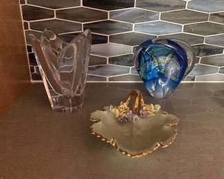 Glass orrefors bowl and glass paperweight and ceramic leaf dish $35