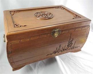 LH Vintage Japanese Wood Jewlery Box