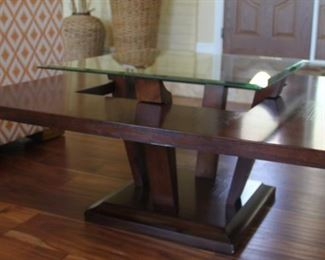 """#4.  $100.00.  Magazine/coffee table with raised glass top 40"""" X 42""""w"""