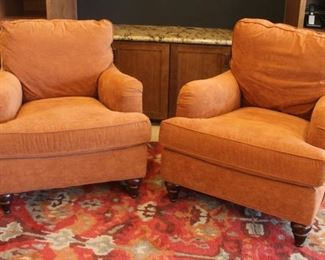"""#11.  $150.00.   Pair Upholstered chairs Sam Moore 34"""" w X 41"""" d X 36"""" h"""